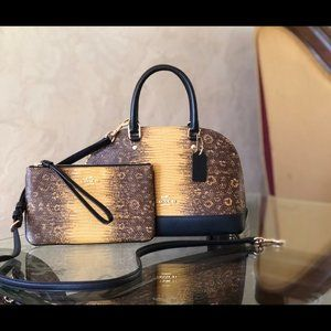 NWT Coach Mini Sierra leather handbag&wallet set